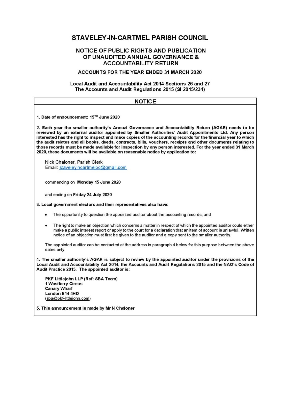 Notice of public rights and publication of unaudited AGAR 2020